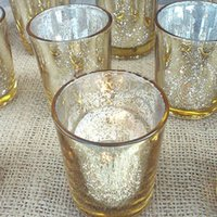 Wholesale Mercury Glass Silver Tea Light Holder Candle Votive Wedding Decoration