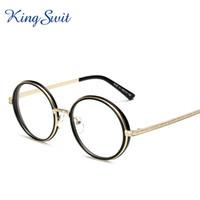 Wholesale KingSwit Retro Vintage Round Eyeglasses For Men Women Black Golden Alloy Frame Eye Glasses Ultralight Optical Eyewear KE104