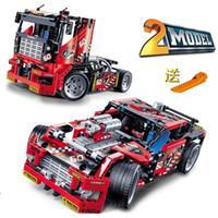 al por mayor wholesale toy cars-Al por mayor-608pcs Truck Race Car 2 en 1 transformable Modelo del bloque hueco Sets Decool 3360 DIY juega compatible con el Legoe Technic 42041