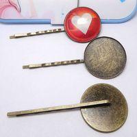 100pcs gros Bronze Antique 25mm Clips ronds en verre camée Plateau Barrette Cheveux Réglage Constatations vierges pour Fabrication de bijoux