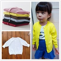 Wholesale European Style INS Popular Spring Autumn Cotton Baby Kids Sweater Knitwear Cardigan Long Sleeve Knit Coats for Girls Candy Colors Fashion