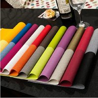 Wholesale New cm Rectangular grid PVC insulation placemat Western dining pads Tableware pads Easy clean placemat A0413