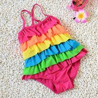 Wholesale Children swimwear six rainbow flouncing piece swimsuit female baby girls big virgin swimsuit
