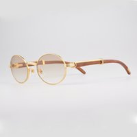 arm designer - Sunglasses Wood Sun Glasses Men Real Wood arm Style Designer Sunglasses Gold Wood Frames Glasses Oval Frame With Case and Box CT55