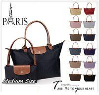 acrylic shops - New French Brand Medium size Fold over Nylon TOTE Bag Shopping Handbag Long Folding Travel sport Champagne Dumpling Freeshipping