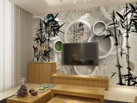 bamboo tea house - The white circle bamboo woven wallpaper decoration text indoor background for KTV Hotel tea factory direct delivery speed
