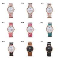 Precio de Relojes de pulsera piezas-Moda unisex de oro rosa de la forma redonda relojes GTWH7 reloj reserva de marcha, relojes de pulsera de cuarzo correa de impresión de relojes 6 pedazos una porción del color de la mezcla