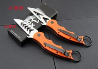 Cheap 2016 Newest 4 Styles FOX Karambit Claw Knife Black Orange Handle Sharp Training Edge Folding Knives F48E