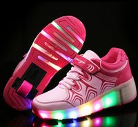 air roller shoes - Child Jazzy Heelys Junior Girls Boys LED Light Heelys Children Roller Skate Shoes Kids Sneakers With Single Wheels