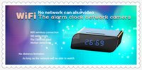 Wholesale Wifi P Hidden Spy Cam IP Alarm Clock camera Mini HD Camcorders with Night Vision automatically Support GB TF card