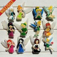 bell fashion shoes - Tinker Bell Fashion cartoon PVC shoe charms accessories for shoe bracelets with holes Shoe Ornament Kids party decoration Gifts