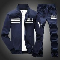 Wholesale New Men s Sportswear Hoodies Set Striped Zipper Men Sports Tracksuits Stand Collar Sweatshirts Coats for Men XL jacket