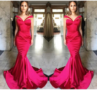 Wholesale Elegant Hot Pink Off Shoulder Evening Dresses Satin Ruffles Mermaid Prom Dresses Backless Sweep Train Pageant Party Dresses Formal Wear