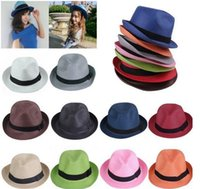 Cheap 2016 NEW Fashion Straw Panama Fedora Caps Solid Dress Hats Stylish Spring Summer Beach Sun Hat Colors Choose DHV*30