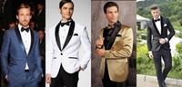 Wholesale Silk Suits 46 - Hot Selling Slim Fit One Button Groom Tuxedos Men's Suit Groomsman Bridegroom Wedding Dinner Best Man Suits (Jacket+Pants+Tie+Girdle)