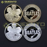 beatles lot - 2 POP MUSIC ROCKN ROLL LIVERPOOL GROUP Silver and K Gold Plated Beatles Coins