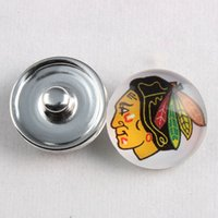 Wholesale 18MM NHL Snap Button Charms Glass Chicago Blackhawks Button For Ginger Snaps Bracelets