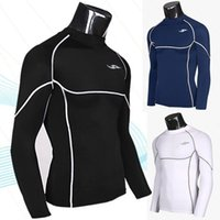 Wholesale Nice Korean version of the spring sports tights fitness training fast drying T shirt fashion men s long sleeved T shirt clothing