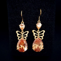 ba red - champagne drop earrings cubic zirconia BA color available brand Jewelry outlets