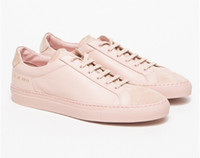 beading projects - Original Women By Common Projects Low Shoes Men Woman Genuine Leather Sheepskin Pink Casual Shoes Chaussure Femme Homme Scarpe