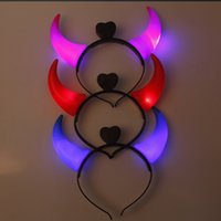 Wholesale Led Devil Horns Lights Cheering Rave Toys Flashing Hair Clip HeadBand Light emitting Hairpin Cartoon For Party Decoration Christmas