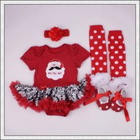 bebe lace - New Baby Girl Clothing Sets Infant Christmas Gifts Lace Tutu Romper Dress tutu dress head band shoes legg Bebe First Birthday Costumes