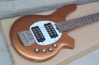 Bongo Music Man 5 cuerdas graves Erine la guitarra eléctrica de la bola de la pastinaca del oro batería de 9V Activo Pastillas blanca Pickguard herrajes cromados