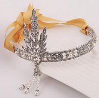 baroque fabric - Bride crown in the great gatsby heroine tire pearl tassel diamond fabric hair with hair hoop baroque style