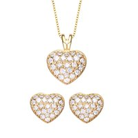 Wholesale Star Harvest latest fashion go Heart Charms Round Necklace Pendant Earrings Jewelry Set Fashion for Women Girl Giftld colors heart