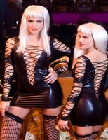 stripper wear - Hot Sexy Leather Lingerie Stripper Wear Black Latex Cat Costume Erotic Catsuit Pvc Beyonce Dress Sex Suit Halloween Costume