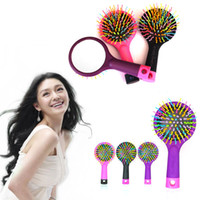 anti static pvc - Detangle Hair Brush Magic Rainbow Comb Hair brushes Anti Static TT Comb With a back mirror Black Pink Purple
