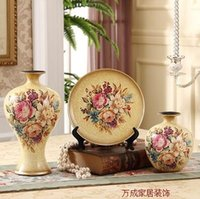 Wholesale 04 The new European ceramic vase three piece luxury home furnishing articles sitting room adornment