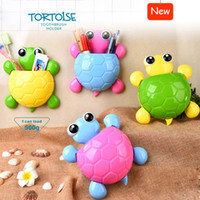 Wholesale 2016 New Design Cute Cartoon Tortoise Toothbrush Holder Multi purpose Bathroom Sucker Hook Kids Pencil Holder Strong Suction Cup