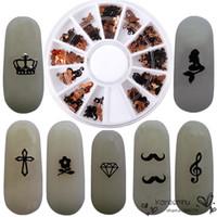 beard art - Pro D Metal Nail Art Decoration Wheel Crown Notes Beard Butterfly Style Decal Slice Black Foil DIY Manicure Accessory Tools