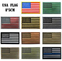 Wholesale 3 inch D Embroidered Pacth with magic tape Multicolour American Flag Outdoor Army Armband patch Sew On Patch spersonality GPF