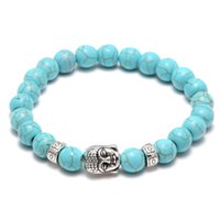 antique stone bangles - Hot Men Fashion turquoise Stone Antique Silver Alloy Buddha head Cuff Charm Bangle Bracelet