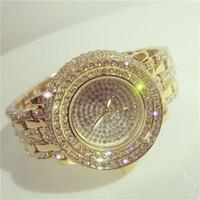 Wholesale 2016 Women Rhinestone Watches Sliver Gold Dress Watches Full Diamond Crystal Women s Luxury Watches Female Quartz Watches Size A1033