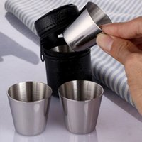 Wholesale Liquor Stainless Steel Mini Cups Travel Outdoor Camping Cut Sets Cover Case