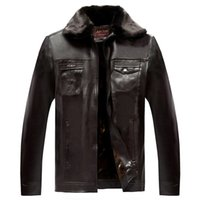 Wholesale Fall Add Thick fashion Cashmere Men s Leather Jacket Fur Coat Winter Fur Collars PU Jacket Outwear hfx