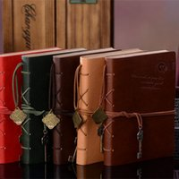 Wholesale Random Classic Retro Vintage Leather Notebook Bound Blank Page Journal Diary Creation Office School Supplies Gifts style A5 And A6