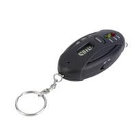 Wholesale Mini Portable Digital Alcotester Flashlight Keychain Breathalyzer Alcohol Tester Red LED Light Alarm Alcohol Detector