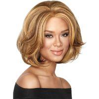 Wholesale celebrity harajuku bob curly wig synthetic ladies wigs ombre blonde wigs short hair heat resistant wig cosplay peruca lolita