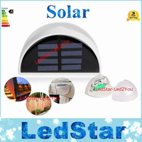Wholesale DHL LED Solar Power Panel lights LED Light Sensor Waterproof Outdoor Fence Garden Pathway Wall Lamp Lighting