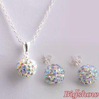 ab crystal jewelry - Shamballa stud Earrings Necklace Set Fashion Jewelry crystal rhinestone AB white