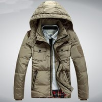 Wholesale Fall Men s Winter Jacket White Duck Down Men Coat Hood Thick Short Casual Parkas Outwear Windproof Coats Plus Size M XL HJ401