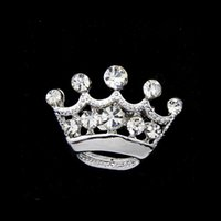 Wholesale Clear Crystal Small Crown Pin Brooch Very Cute Alloy Women Collar Pins Wedding Bridal Jewelry Accessories Gift