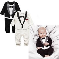 Wholesale 2016 Baby Rompers Double Jumpsuits Baby Rompers Baby Fall Clothing Black Bow Al2045 Baby Clothes Clothing Gentleman R