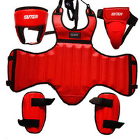 Wholesale SUTEN PU Leather Sanda Boxing Protective Gear Set Thick Head Guard Chest Protector Jockstrap Leg Shield