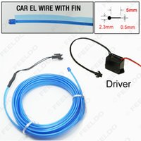 Wholesale 20set Super Bright Blue m water resistant Flexible Moulding EL Neon Glow Lighting Rope Strip With Fin For Car Decoration