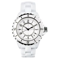 achat en gros de montre dame quartz-Marque de luxe Lady White / Black Montres en céramique Haute Qualité Quartz Montres-bracelets pour femmes Montres Femmes exquises